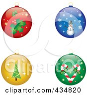 Royalty Free RF Clipart Illustration Of A Digital Collage Of Shiny Holly Snowman Christmas And Candy Cane Christmas Baubles by Pams Clipart