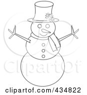 Outlined Snowman With A Top Hat And Scarf