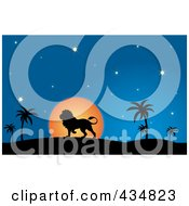 Royalty Free RF Clipart Illustration Of A Silhouetted Lion Walking In A Desert At Dusk