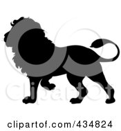 Royalty Free RF Clipart Illustration Of A Black Lion Silhouette by Pams Clipart #COLLC434824-0007