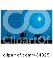 The Three Wise Men Silhouetted And Walking Their Camels Following The North Star To Bethlehem