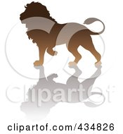 Royalty Free RF Clipart Illustration Of A Brown Lion Silhouette And Shadow by Pams Clipart