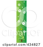 Royalty Free RF Clipart Illustration Of A Christmas Border Of Snowflakes And A Christmas Tree by Pams Clipart