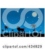 Royalty Free RF Clipart Illustration Of A Silhouetted Lion In A Desert At Night