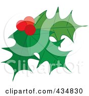 Royalty Free RF Clipart Illustration Of Holly Leaves And Berries 3