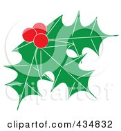 Royalty Free RF Clipart Illustration Of Holly Leaves And Berries 2