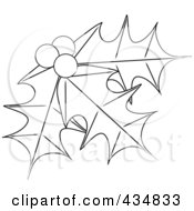 Royalty Free RF Clipart Illustration Of Outlined Holly Leaves And Berries