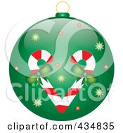 Royalty Free RF Clipart Illustration Of A Shiny Green Candy Cane Christmas Bauble by Pams Clipart