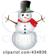 Royalty Free RF Clipart Illustration Of A Happy Snowman With A Top Hat And Scarf by Pams Clipart