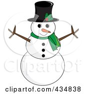 Royalty Free RF Clipart Illustration Of A Happy Snowman With A Top Hat And Green Scarf
