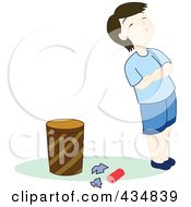 Royalty Free RF Clipart Illustration Of A Stubborn Boy Standing By Garbage On The Floor By A Trash Can