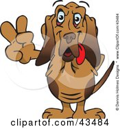 Clipart Illustration Of A Peaceful Bloodhound Smiling And Gesturing The Peace Sign
