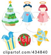 Royalty Free RF Clipart Illustration Of A Digital Collage Of Christmas Angels Gifts And A Tree by Cherie Reve