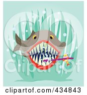 Royalty Free RF Clipart Illustration Of A Cleaner Fish Brushing A Bigger Fishs Teeth by Cherie Reve