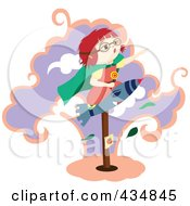 Royalty Free RF Clipart Illustration Of A Girl Pretending To Be A Super Hero Riding On A Rocket On A Post