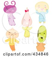 Royalty Free RF Clipart Illustration Of A Digital Collage Of Little Monsters by Cherie Reve