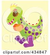 Royalty Free RF Clipart Illustration Of A Polka Dot Dinosaur Wearing Boxing Gloves