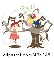 Royalty Free RF Clipart Illustration Of A Girl Watching Two Singing Birds In A Music Note Tree by Cherie Reve