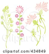 Royalty Free RF Clipart Illustration Of A Digital Collage Of Three Stalks Of Pink And Green Plants And Flowers