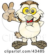 Clipart Illustration Of A Peaceful Barn Owl Smiling And Gesturing The Peace Sign by Dennis Holmes Designs
