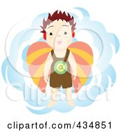 Royalty Free RF Clipart Illustration Of A Michael Angel Boy Over A Blue Cloud