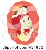 Royalty Free RF Clipart Illustration Of A Girl With A Sleeping Boy On Her Head Eating A Lolipop