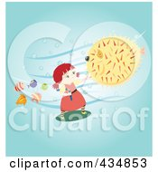 Royalty Free RF Clipart Illustration Of A Girl Doing Kung Fu On A Blowfish To Protect Small Fish by Cherie Reve