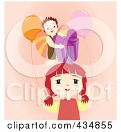 Royalty Free RF Clipart Illustration Of A Boy With A Birthday Gift Over A Girl With Party Balloons On Pink by Cherie Reve