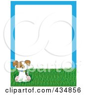 Royalty Free RF Clipart Illustration Of A Cute Puppy With A Butterfly On Grass With A Blue Frame Around White Space by Maria Bell