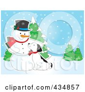 Royalty Free RF Clipart Illustration Of A Puppy Cuddling Against A Snowman In A Winter Landscape by Maria Bell