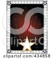 Royalty Free RF Clipart Illustration Of A Gold Star And Film Frame Around Red Rays by Maria Bell