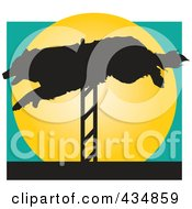 Royalty Free RF Clipart Illustration Of A Dog Leaping A Hurdle In An Agility Course Over A Yellow Circle by Maria Bell