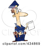 Royalty Free RF Clipart Illustration Of A Police Officer Holding A Warrant
