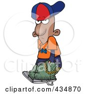 Royalty Free RF Clipart Illustration Of A Black Wannabe Gangster Boy With His Hands In His Pockets by toonaday