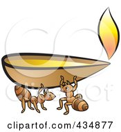 Royalty Free RF Clipart Illustration Of Ants Carrying An Oil Lamp by Lal Perera