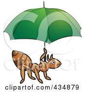 Royalty Free RF Clipart Illustration Of An Ant Holding A Green Umbrella by Lal Perera