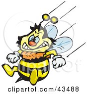Clipart Illustration Of A Honey Bee Character Flying With His Stinger At The Ready