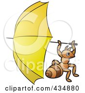 Royalty Free RF Clipart Illustration Of An Ant Holding A Yellow Umbrella by Lal Perera
