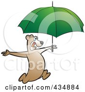 Royalty Free RF Clipart Illustration Of A Bear Running With A Green Umbrella by Lal Perera