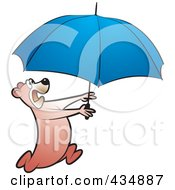 Royalty Free RF Clipart Illustration Of A Bear Running With A Blue Umbrella by Lal Perera