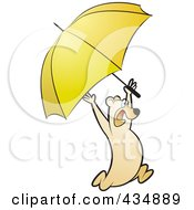 Royalty Free RF Clipart Illustration Of A Bear Running With A Yellow Umbrella by Lal Perera