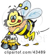 Clipart Illustration Of A Honey Bee Character Carrying Pails Of Honey