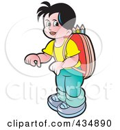 Royalty Free RF Clipart Illustration Of A School Boy With A Backpack