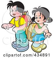 Royalty Free RF Clipart Illustration Of A School Boy And Girl With Backpacks by Lal Perera