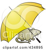 Royalty Free RF Clipart Illustration Of A Tan Rat With An Umbrella by Lal Perera