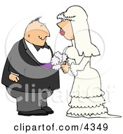 Young Man And Woman Looking At Each Other Before Getting Married Clipart