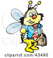 Clipart Illustration Of A Honey Bee Character Businessman Carrying A Briefcase