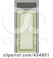 Royalty Free RF Clipart Illustration Of A Closed Green Door by Lal Perera
