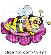 Clipart Illustration Of A Honey Bee Character Relaxing On A Purple Flower
