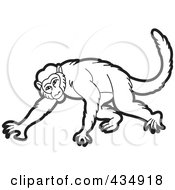Royalty Free RF Clipart Illustration Of An Outlined Monkey 2 by Lal Perera